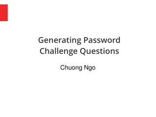 Generating Password Challenge Questions