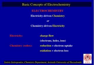 ELECTROCHEMISTRY Electricity-driven  Chemistry or Chemistry-driven  Electricity