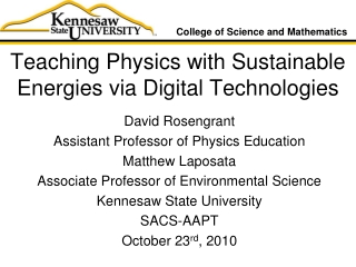 Teaching Physics with Sustainable Energies via Digital Technologies