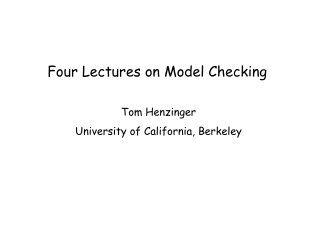 Four Lectures on Model Checking