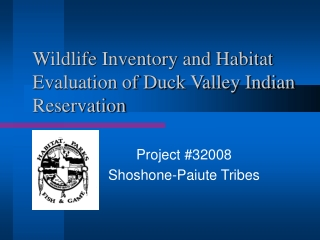 Wildlife Inventory and Habitat Evaluation of Duck Valley Indian Reservation