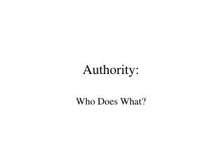 Authority: