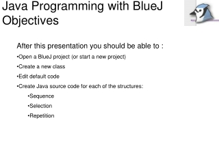 Java Programming with BlueJ Objectives