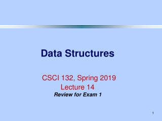 Data Structures CSCI 132, Spring 2019 Lecture 14 Review for Exam 1