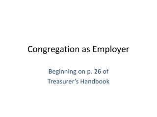 Congregation as Employer
