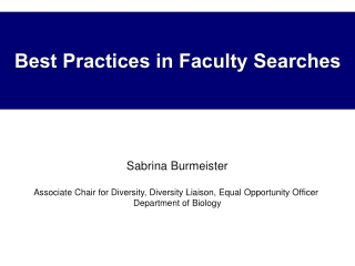 Best Practices in Faculty Searches