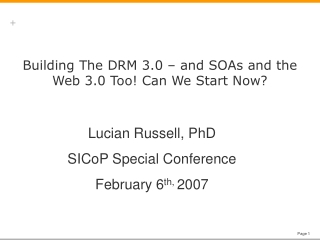 Building The DRM 3.0 – and SOAs and the Web 3.0 Too! Can We Start Now?