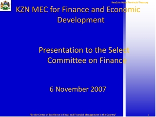 KZN MEC for Finance and Economic Development