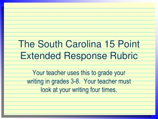 The South Carolina 15 Point Extended Response Rubric
