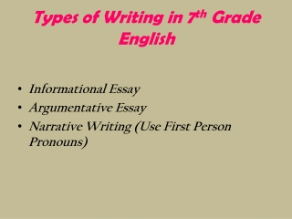 Types of Writing in 7 th  Grade English