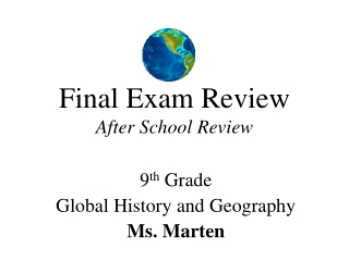 Final Exam Review After School Review