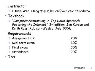 Instructor Hsueh-Wen Tseng  曾學文 , hsuen@voip.csie.ntu.tw Textbook