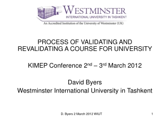 PROCESS OF VALIDATING AND REVALIDATING A COURSE FOR UNIVERSITY