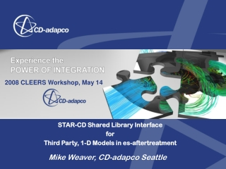STAR-CD Shared Library Interface  for Third Party, 1-D Models in es-aftertreatment