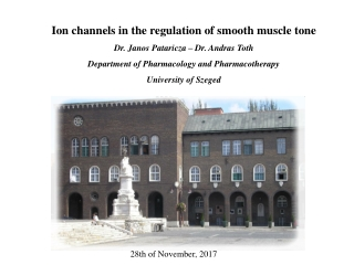 Ion channels in the regulation of smooth muscle tone Dr. Janos Pataricza – Dr. Andras Toth