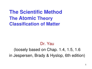 The Scientific Method The  Atomic  Theory Classification of Matter