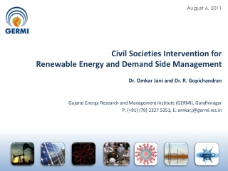 Civil Societies Intervention for  Renewable Energy  and Demand Side Management
