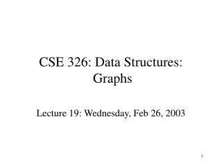 CSE 326: Data Structures:  Graphs