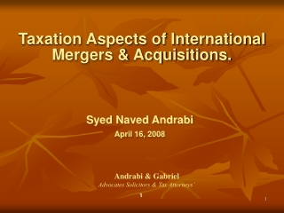 Taxation Aspects of International                    Mergers & Acquisitions.