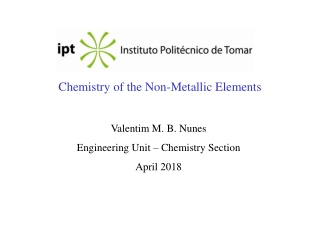 Chemistry of the Non-Metallic Elements