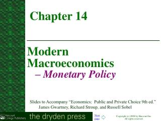 Modern Macroeconomics  – Monetary Policy