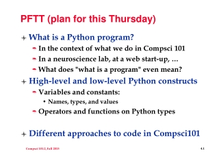 PFTT (plan for this Thursday)