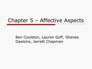 Chapter 5 – Affective Aspects