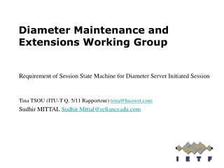 Diameter Maintenance and Extensions Working Group