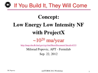 Concept:  Low Energy Low Intensity NF  with ProjectX ~10 20  mu/year