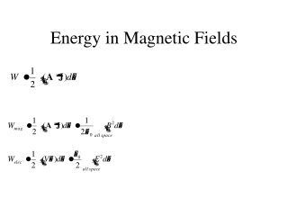 Energy in Magnetic Fields