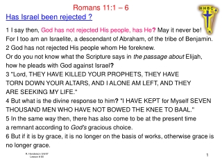 Romans 11:1 – 6