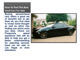 How To Find The Best Used Cars For Sale