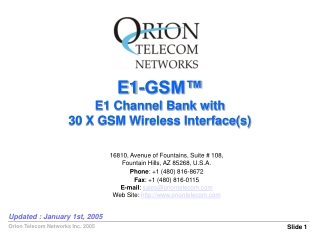 E1-GSM™ E1 Channel Bank with 30 X GSM Wireless Interface(s)