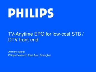 TV-Anytime EPG for low-cost STB / DTV front-end