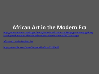 African Art in the Modern Era