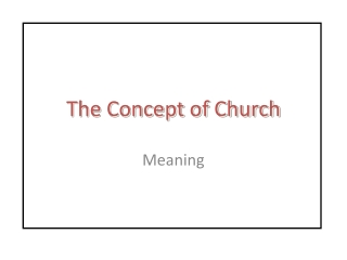 The Concept of Church