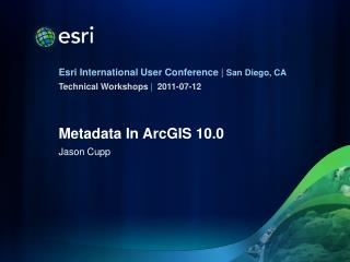Metadata In ArcGIS 10.0