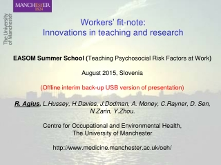 Workers' fit-note:  Innovations in teaching and research