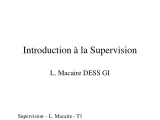 Introduction à la Supervision