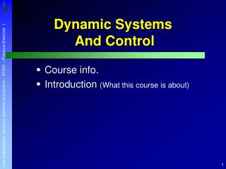 Dynamic Systems And Control