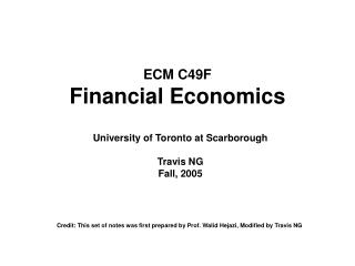 ECM C49F Financial Economics
