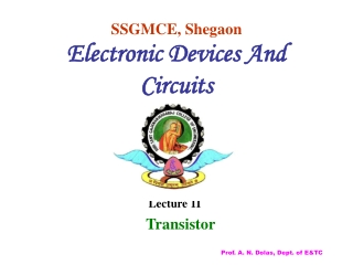 SSGMCE, Shegaon Electronic Devices And Circuits