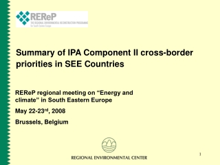 Summary of IPA Component II cross-border priorities in SEE Countries