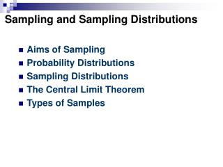 Sampling and Sampling Distributions