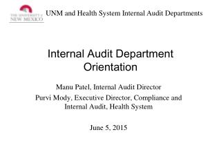 Internal Audit Department Orientation