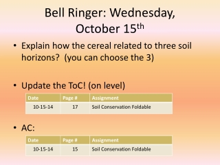 Bell Ringer: Wednesday,  October 15 th