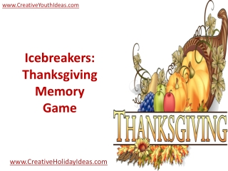 Icebreakers: Thanksgiving Memory Game