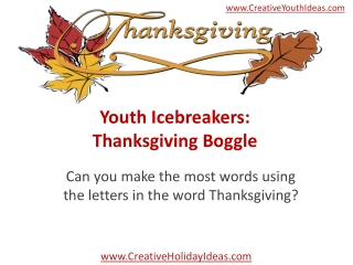 Youth Icebreakers: Thanksgiving Boggle