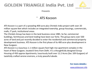ATS Kocoon Sector 109 Gurgaon|Call:9650003409/9560505862