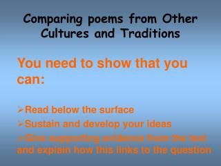 Comparing poems from Other Cultures and Traditions